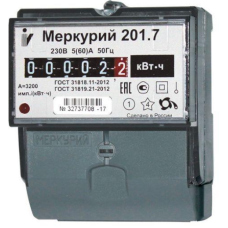 Счетчик 1-фазный 1-тарифный 5-60А Меркурий 201.7