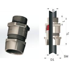 Взрывозащищенный кабельный ввод серии ТВВКм для монтажа кабеля в металлорукаве Ø 16-63